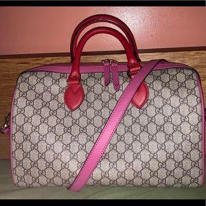 Gucci GG Supreme Monogram Boston Bag Pink Hibiscus